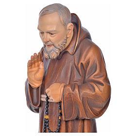 Imagem madeira São Pio de Pietrelcina pintada s5