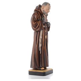 Imagem madeira São Pio de Pietrelcina pintada s11