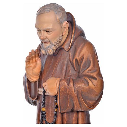 Imagem madeira São Pio de Pietrelcina pintada 5