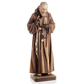 St Father Pio of Pietralcina wooden statue painted s1