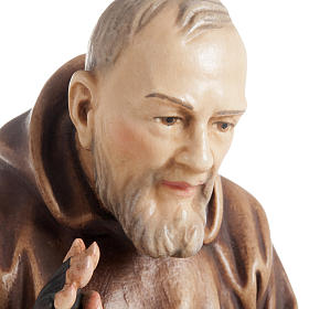 St Father Pio of Pietralcina wooden statue painted s5