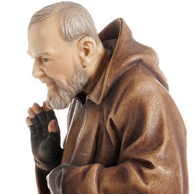 St Father Pio of Pietralcina wooden statue painted s11