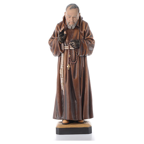 St Father Pio of Pietralcina wooden statue painted 2