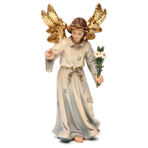 Statue bois Archange Gabriel peinte 1