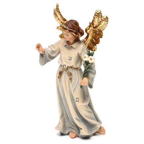 Statue bois Archange Gabriel peinte 3