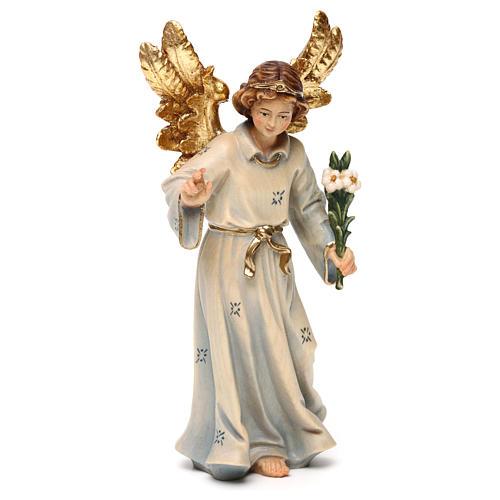Statue bois Archange Gabriel peinte 4