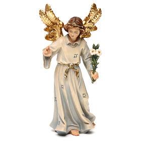 Statua legno Arcangelo Gabriele dipinta Val Gardena s1