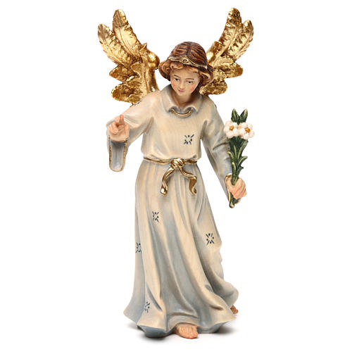 Statua legno Arcangelo Gabriele dipinta Val Gardena 1