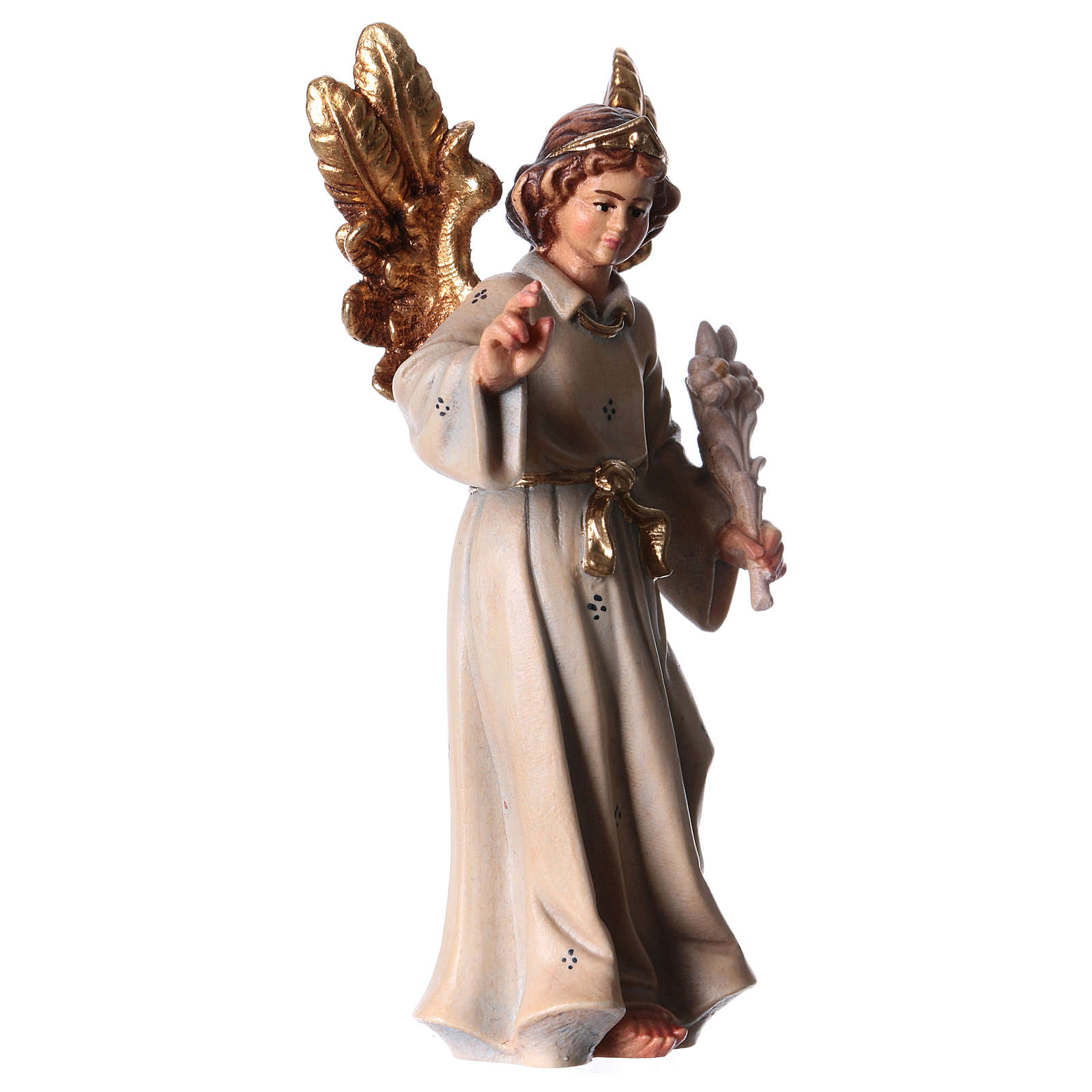 Archangel Gabriel wooden statue painted 4