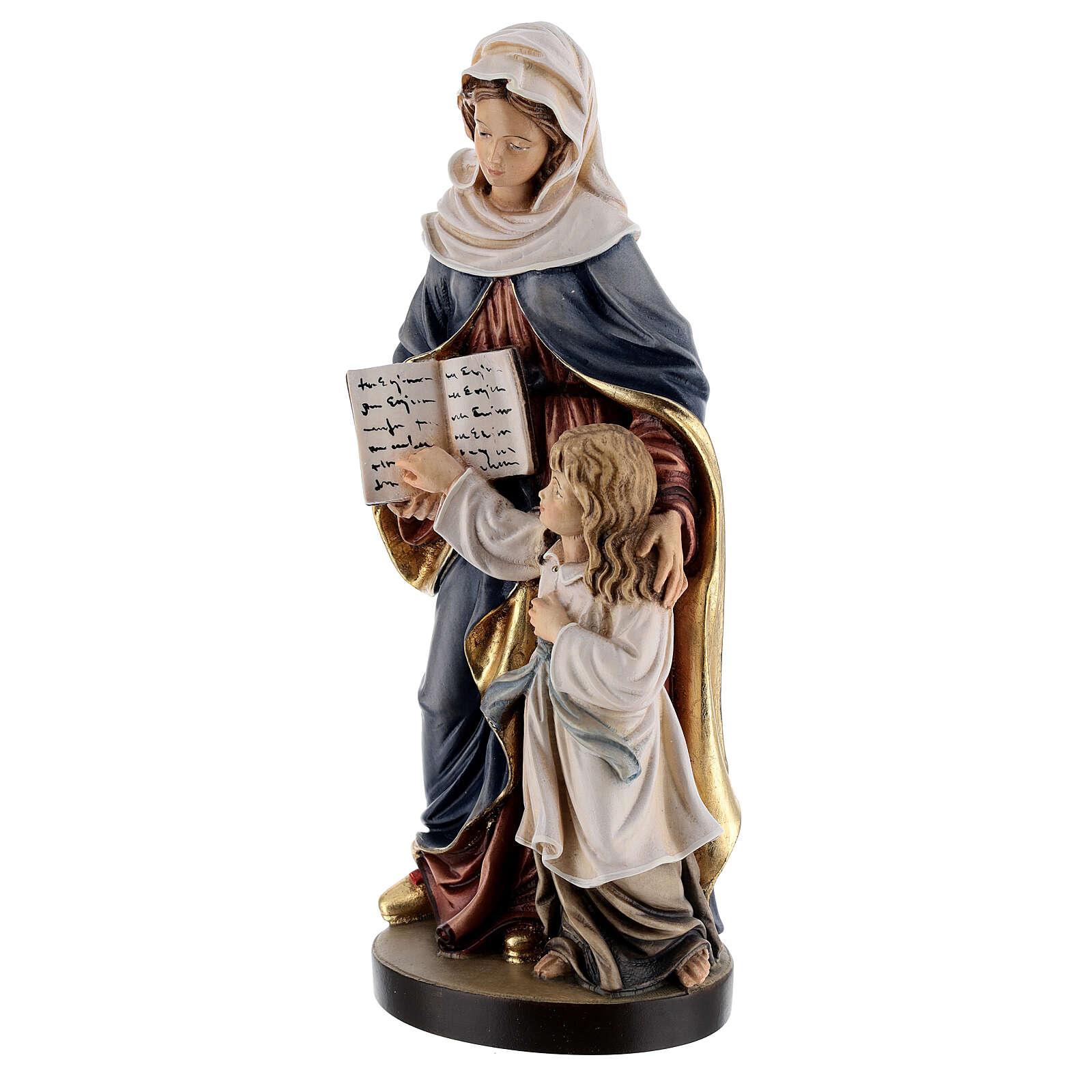 Estatua madera Santa Ana con María pintada Val Gardena 4