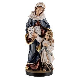 Estatua madera Santa Ana con María pintada Val Gardena s1