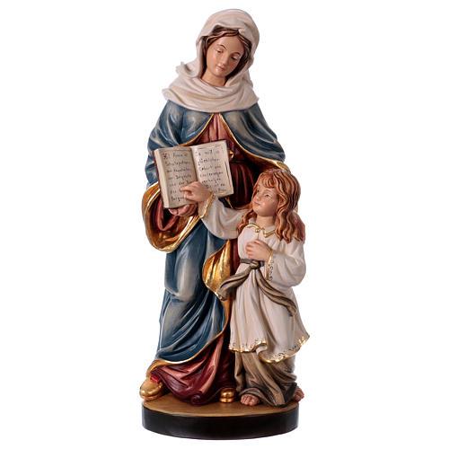 Estatua madera Santa Ana con María pintada Val Gardena 1