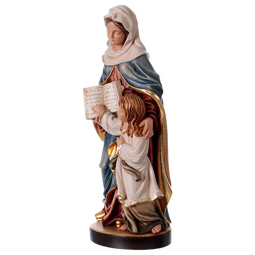 Estatua madera Santa Ana con María pintada Val Gardena 3