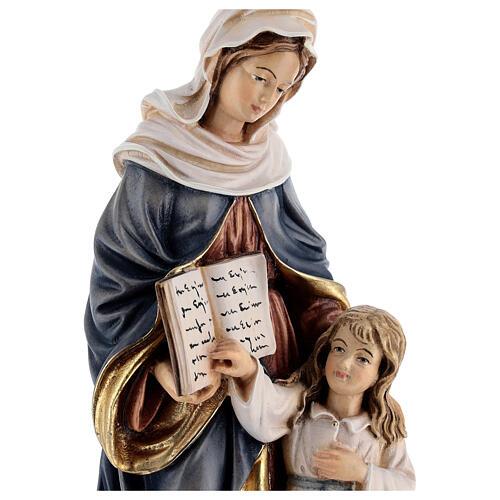 Estatua madera Santa Ana con María pintada Val Gardena 2