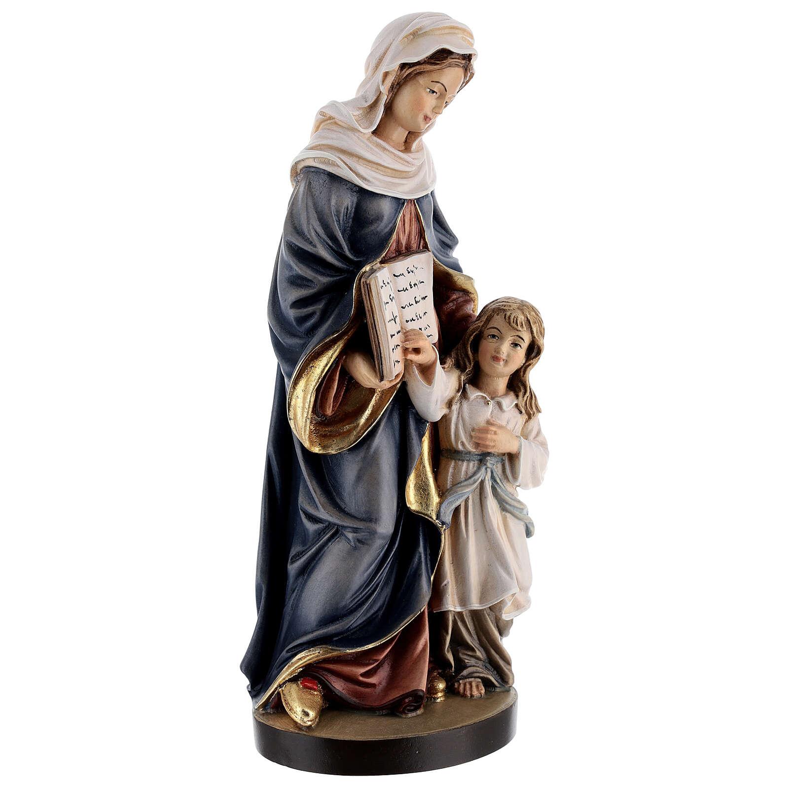 Święta Anna z Maryją drewniana figurka malowana Val G 4