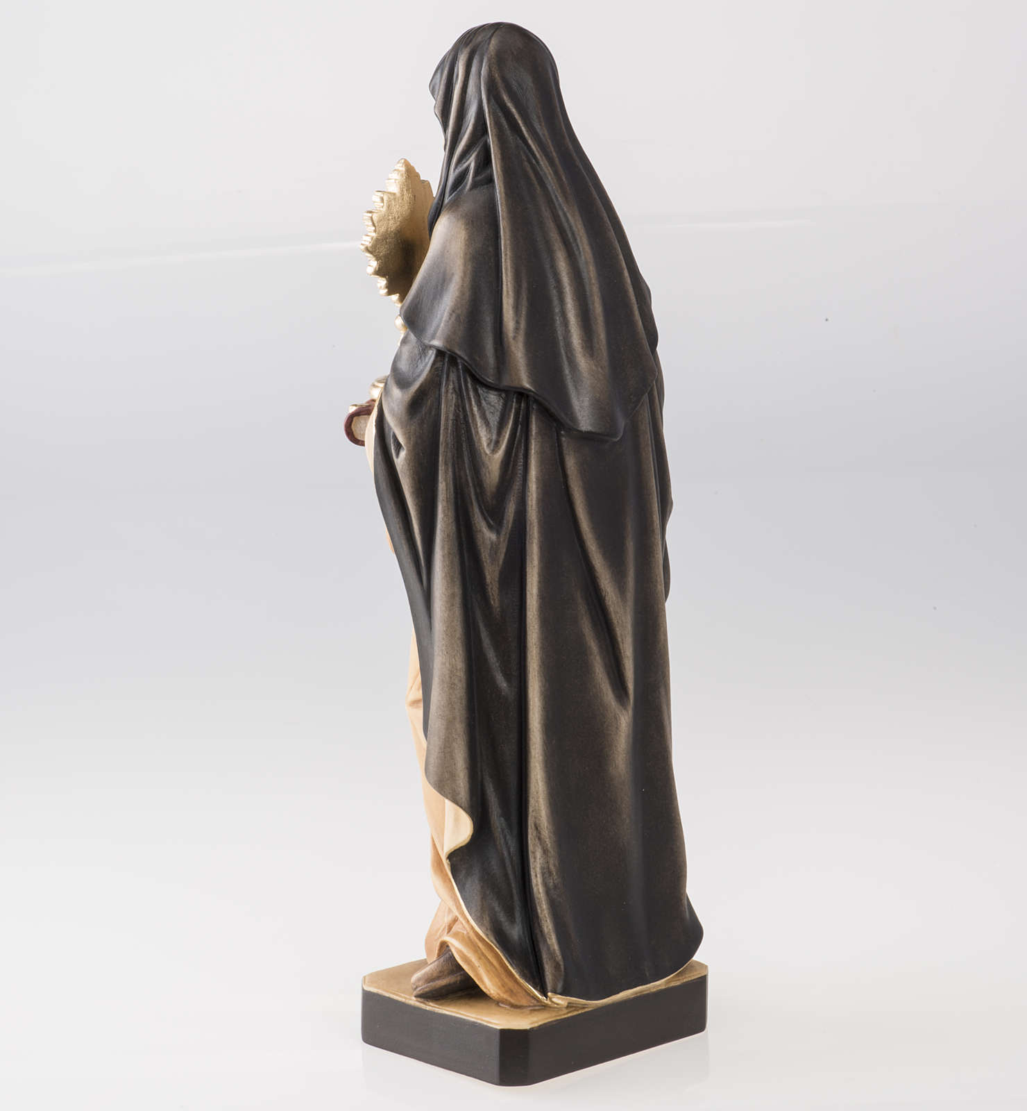 St Clare with monstrance wooden statue painted 4