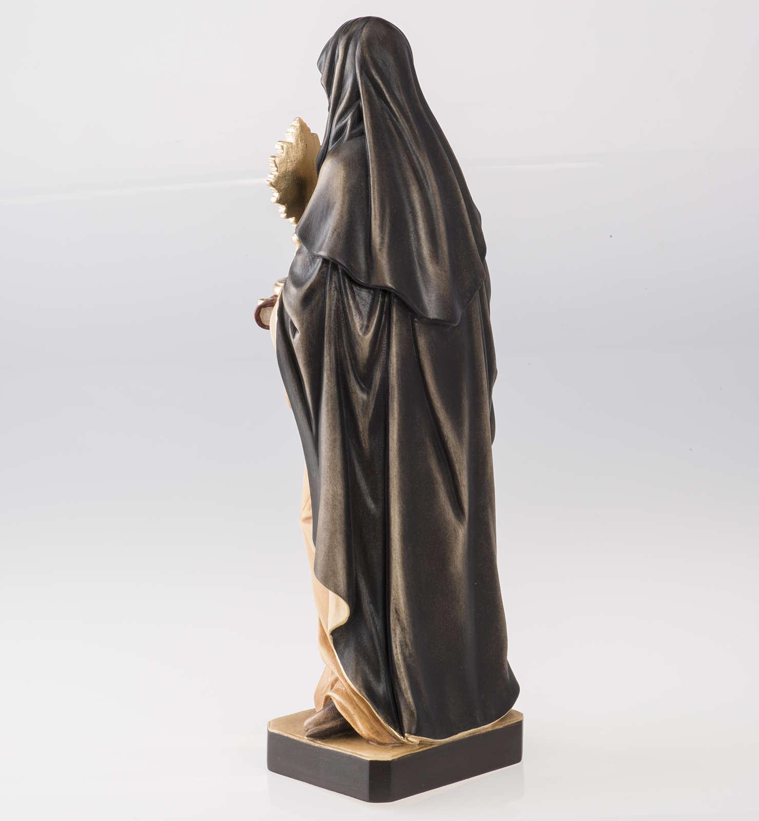 Statue bois Sainte Claire avec ostensoir peinte 4