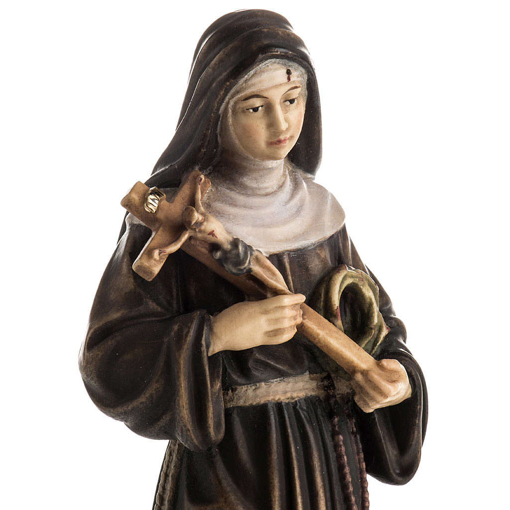 Statue bois Sainte Rita de Cascia peinte 4