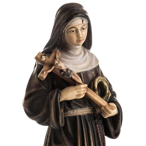 Statue bois Sainte Rita de Cascia peinte 2