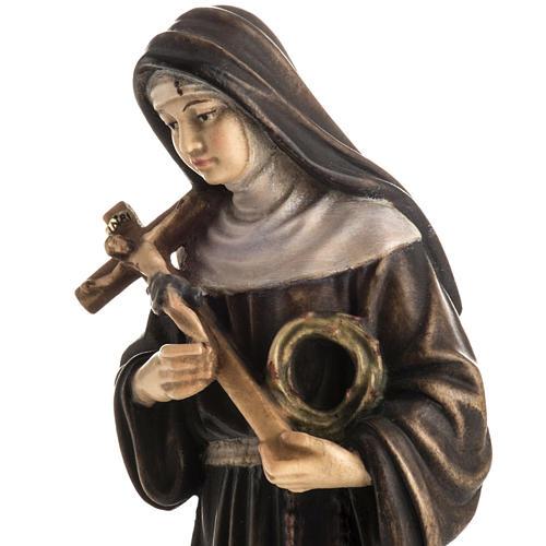 Statue bois Sainte Rita de Cascia peinte 3