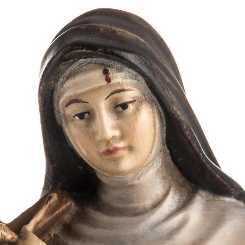 Statue bois Sainte Rita de Cascia peinte 7