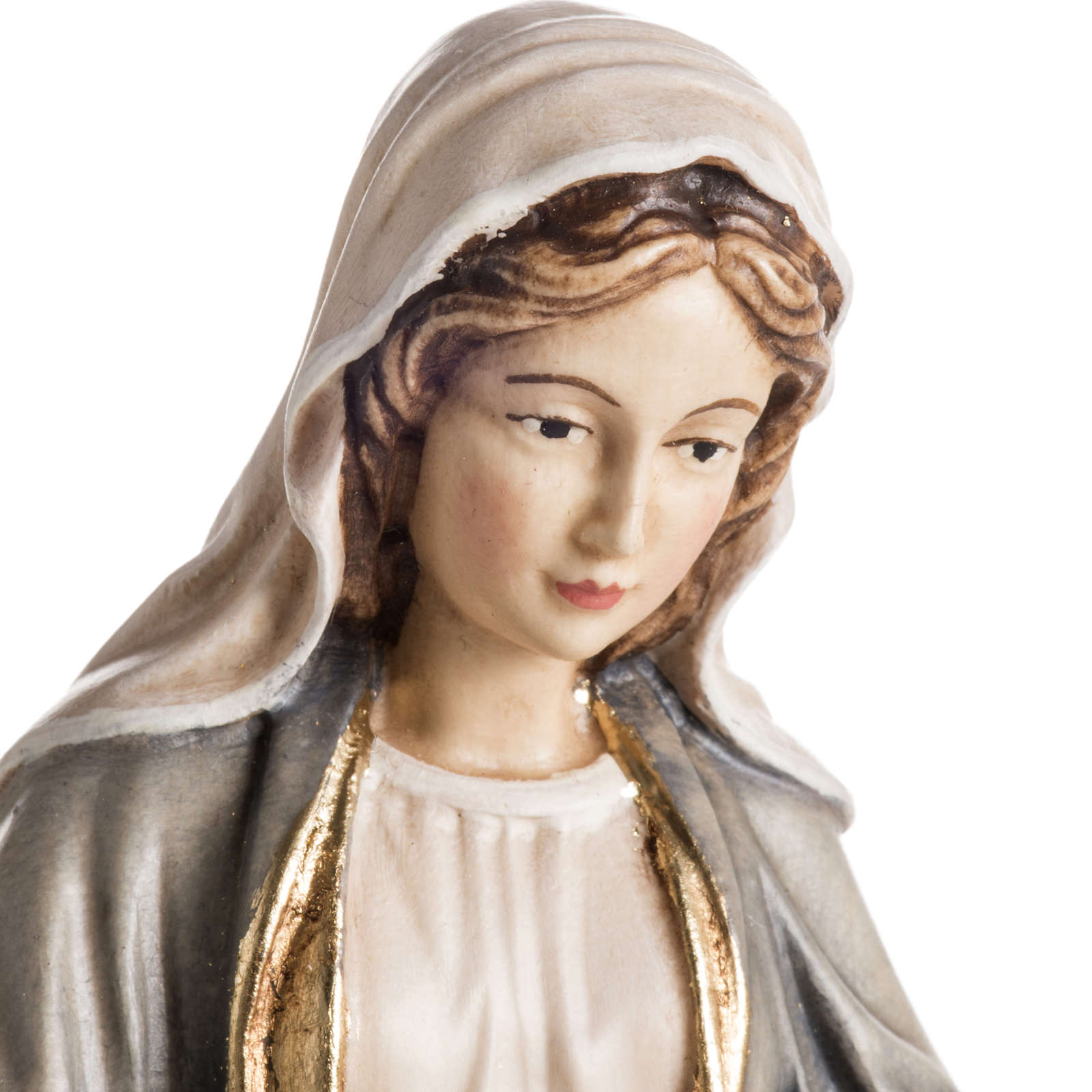 Our Lady of Grace wooden statue painted 4