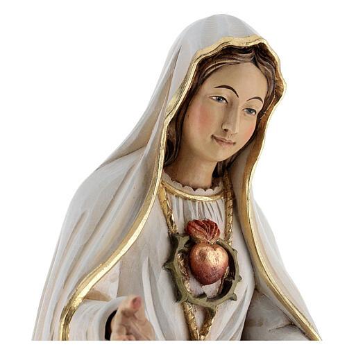 Statua Madonna di Fatima legno dipinto Val Gardena 2