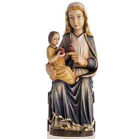 Hand painted wooden statues: Our Lady of Mariazell seated wooden statue painted