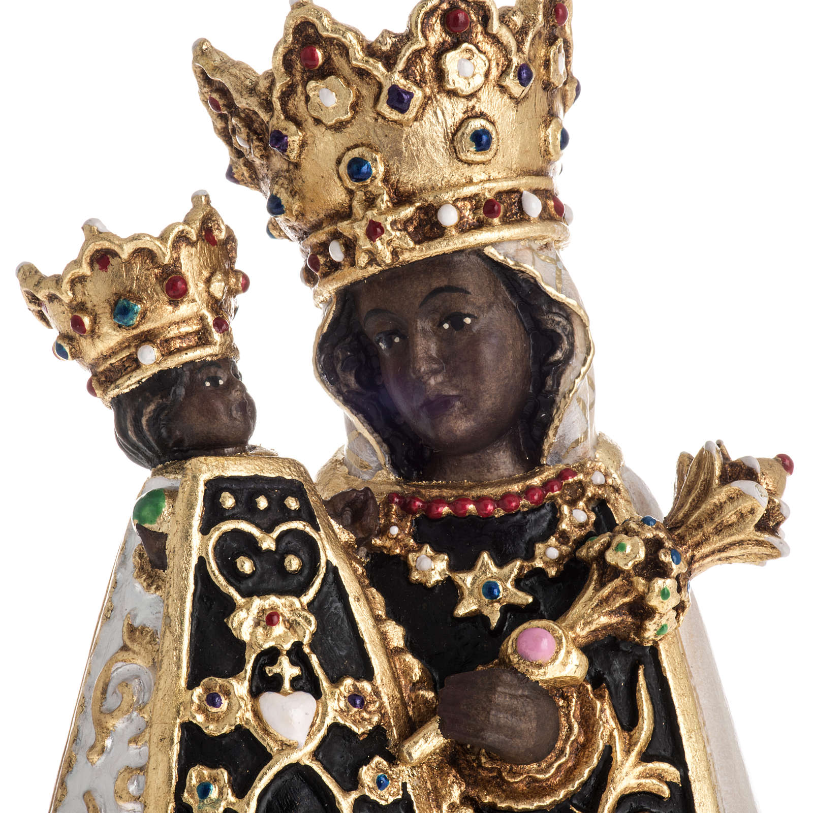 Virgin of Altotting wooden statue painted 4