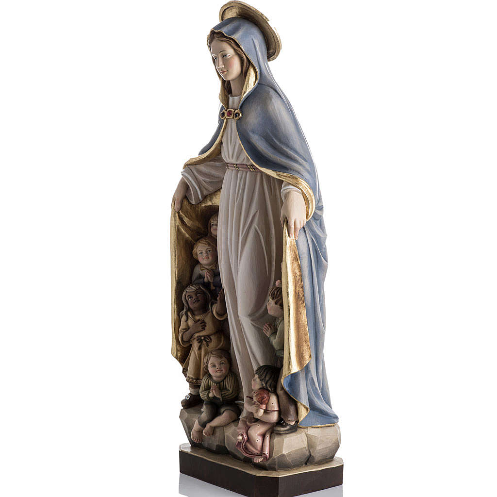 Our Lady of Protection wooden statue painted 4