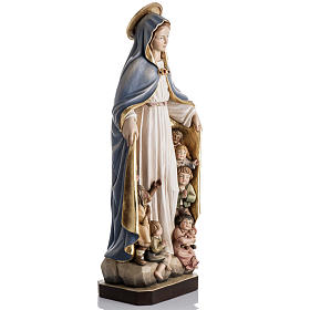 Our Lady of Protection wooden statue painted s6