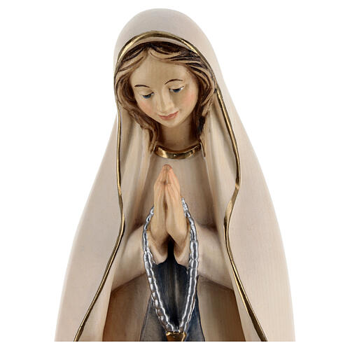 Our Lady of Lourdes with Bernadette wooden statue painted 4
