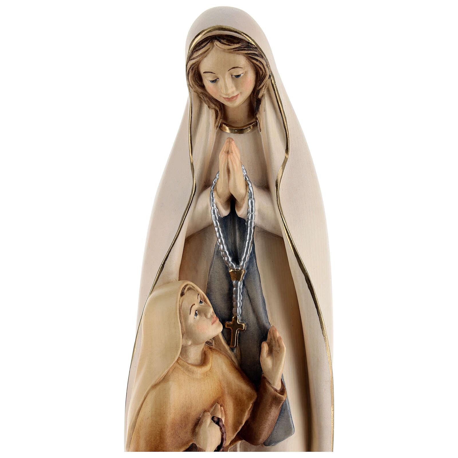 Statue Notre Dame de Lourdes et Bernadette peinte bois 4