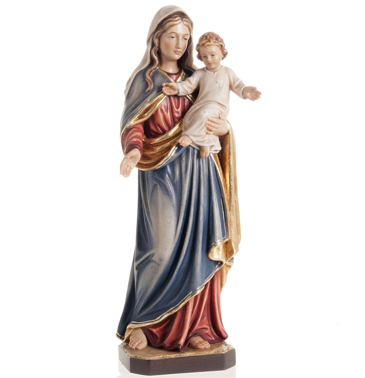 Statua Madonna con bambino legno dipinto Val Gardena 4