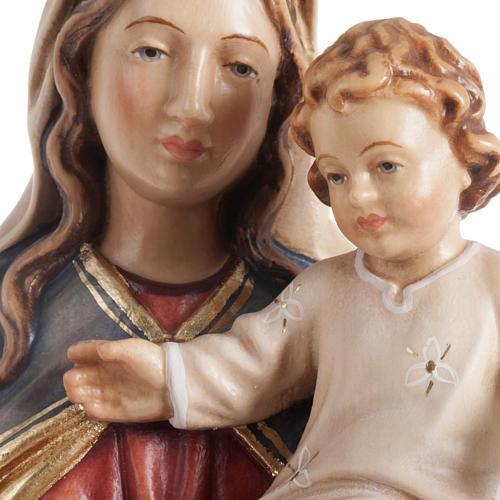 Statua Madonna con bambino legno dipinto Val Gardena 3