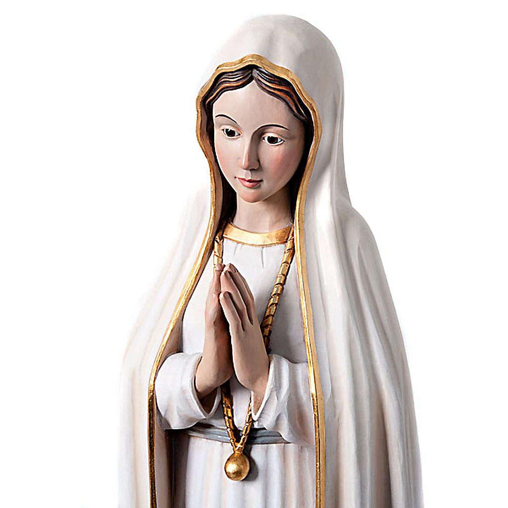Statue Notre Dame de Fatima en bois peint yeux en cristal 120 cm 4