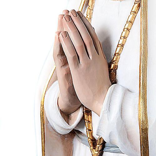 Statue Notre Dame de Fatima en bois peint yeux en cristal 120 cm 2