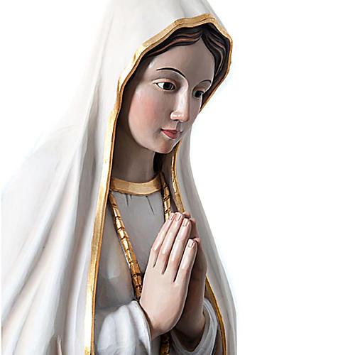 Statue Notre Dame de Fatima en bois peint yeux en cristal 120 cm 3