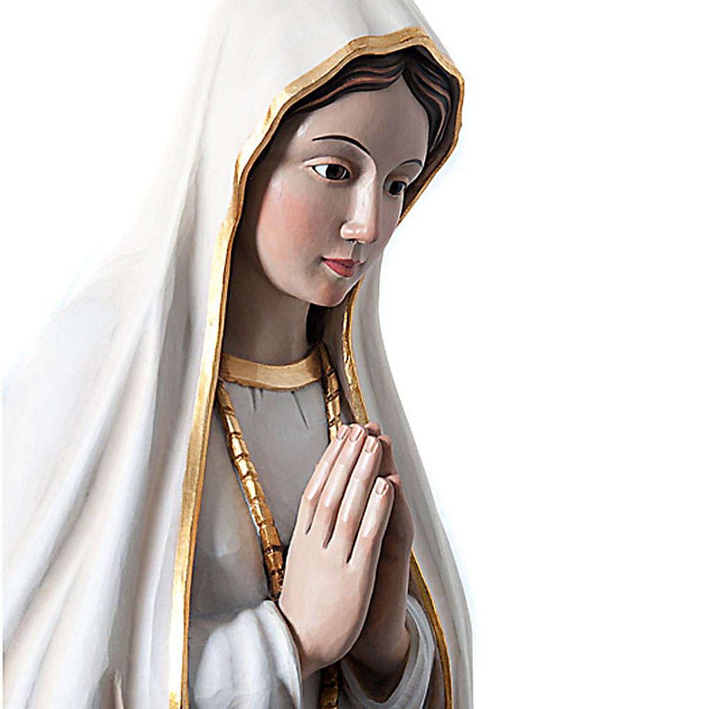 Statua Madonna di Fatima legno dipinto occhi cristallo 120 cm 4