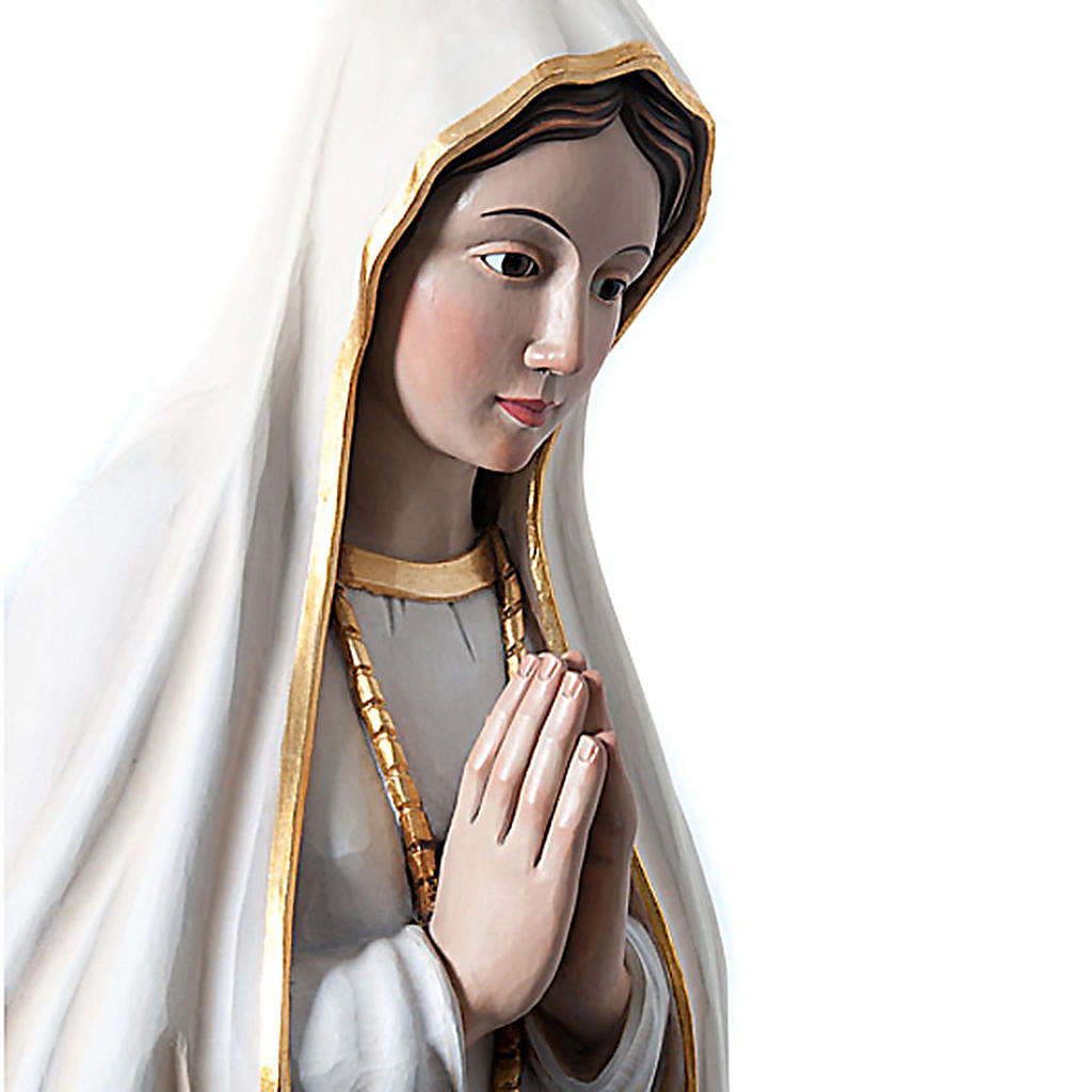 Our Lady of Fatima painted wood statue with crystal eyes 120 cm 4