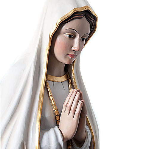 Our Lady of Fatima painted wood statue with crystal eyes 120 cm 3
