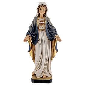 Imagem madeira Sagrado Coração de Maria pintada Val Gardena s1