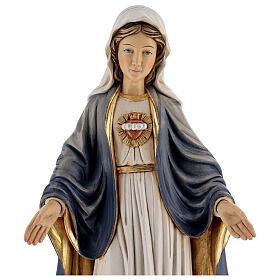 Imagem madeira Sagrado Coração de Maria pintada Val Gardena s6