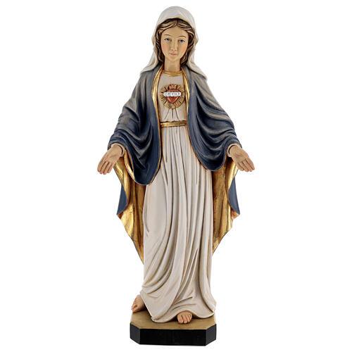 Imagem madeira Sagrado Coração de Maria pintada Val Gardena 1