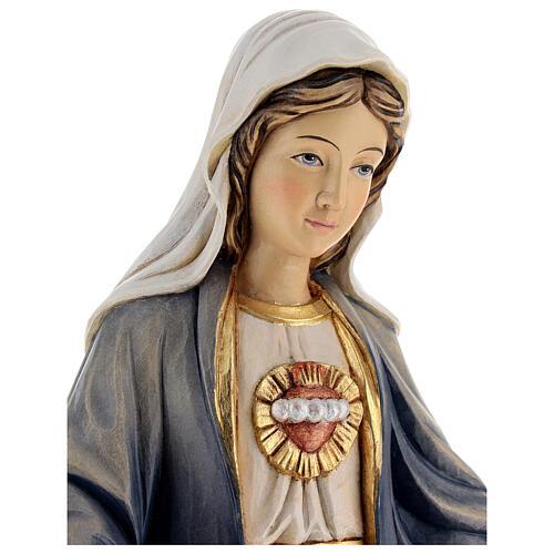 Imagem madeira Sagrado Coração de Maria pintada Val Gardena 2