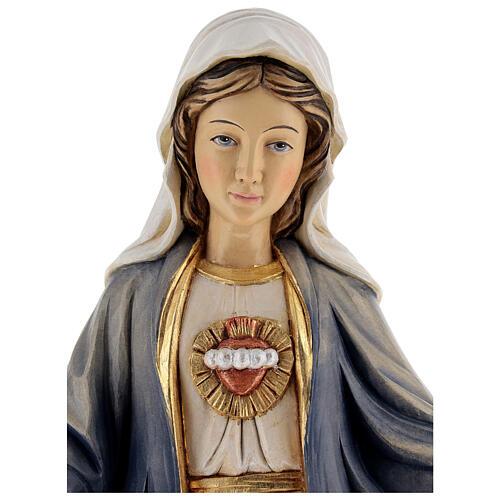 Imagem madeira Sagrado Coração de Maria pintada Val Gardena 4