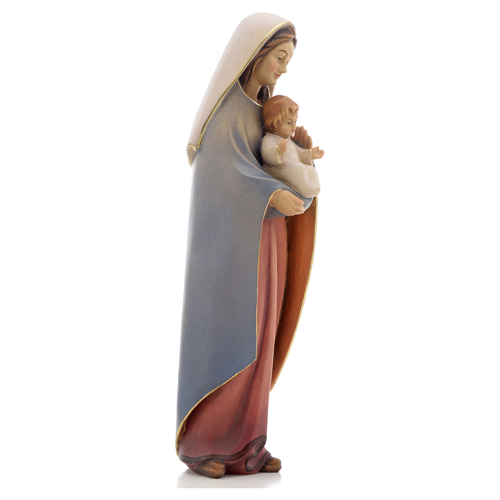 Our Lady of Heart with Infant wooden statue painted 4