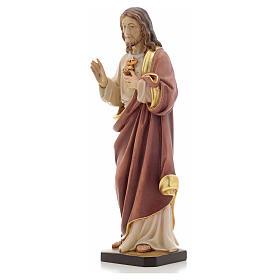 Estatua madera Sagrado Corazón de Jesús pintada Va s6