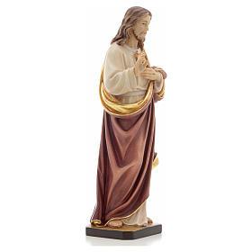 Estatua madera Sagrado Corazón de Jesús pintada Va s8