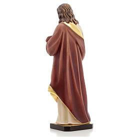 Estatua madera Sagrado Corazón de Jesús pintada Va s3